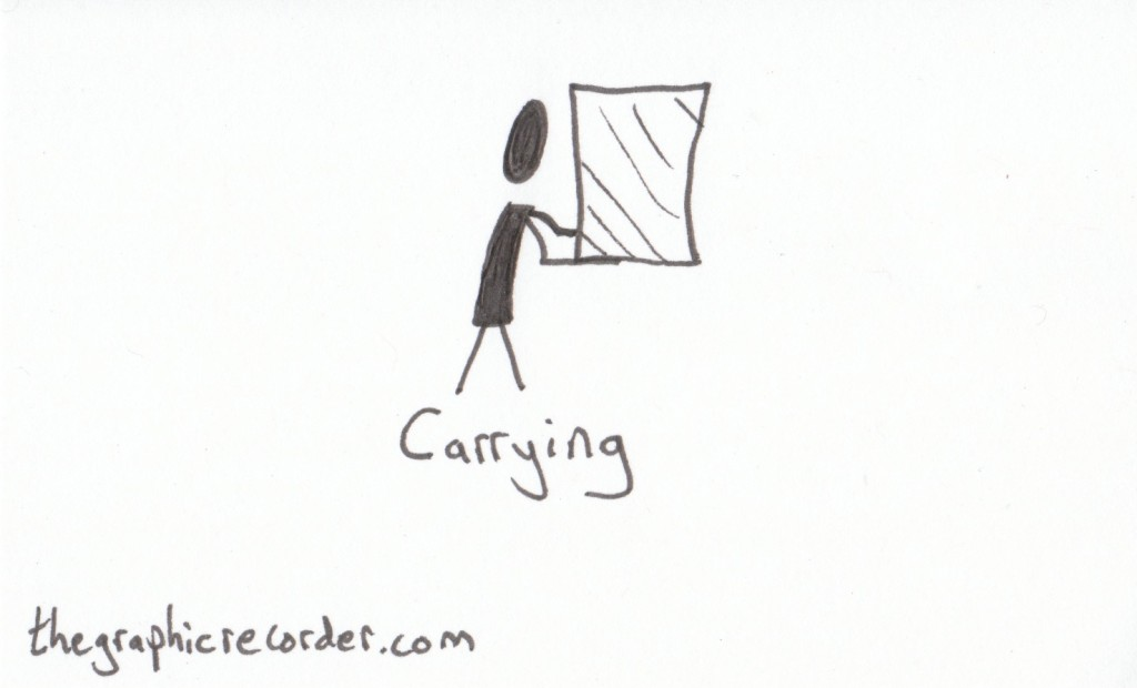 The Graphic Recorder - Note Card Sketch Notes - Visual Vocabulary - Moving Stuff Around - Stick Figure Carrying