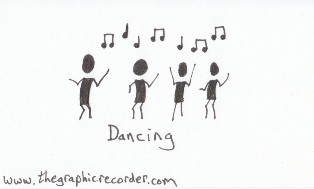 The Graphic Recorder - Note Card Sketch Notes - Visual Vocabulary - Music - Dancing