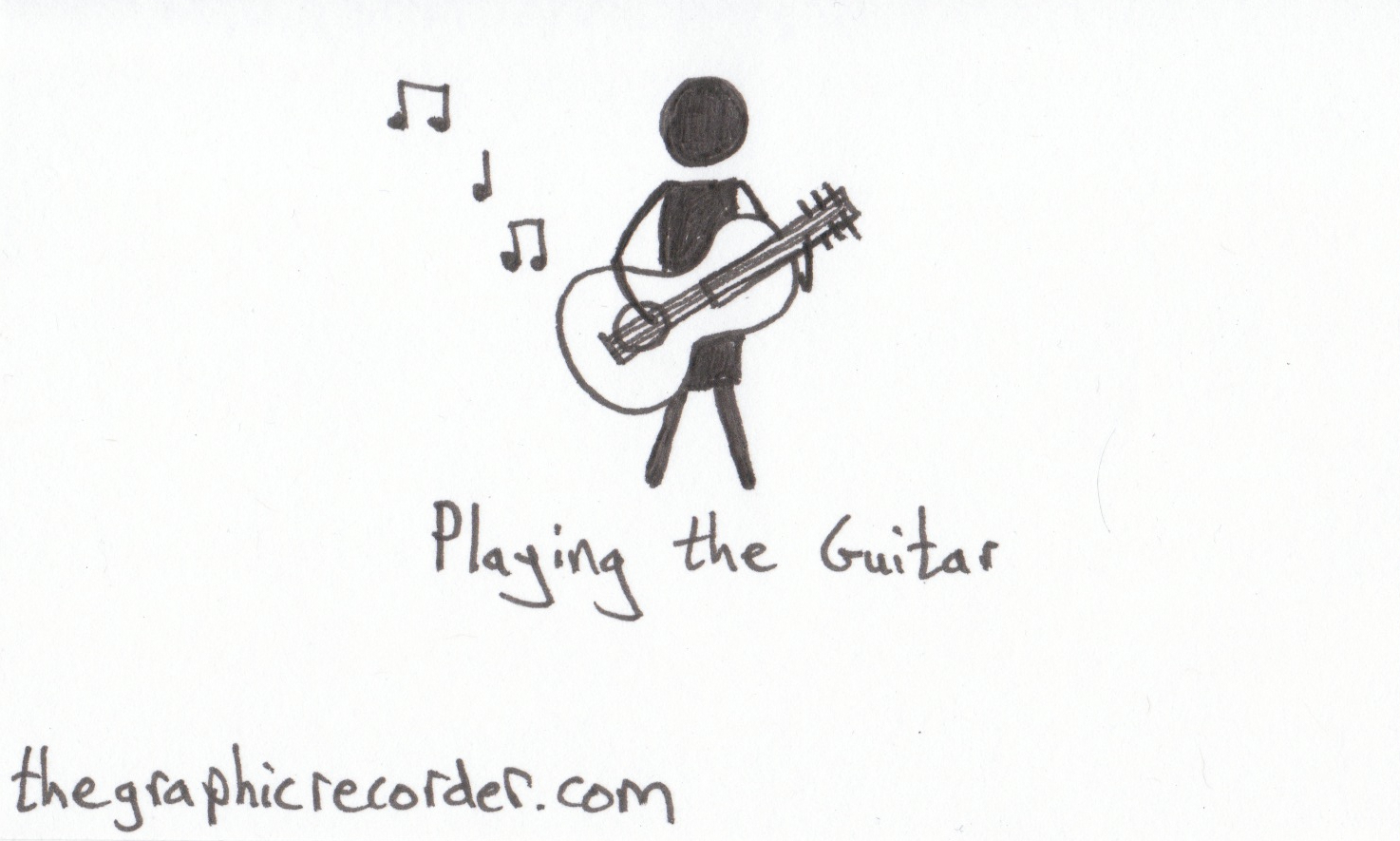 The Graphic Recorder - Note Card Sketch Notes - Visual Vocabulary - Music - Playing the Guitar
