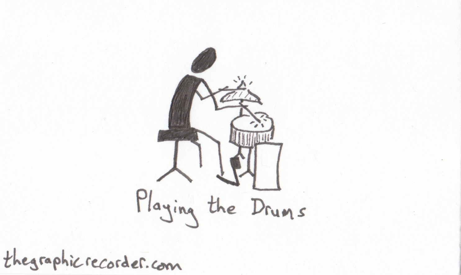 The Graphic Recorder - Note Card Sketch Notes - Visual Vocabulary - Stick Figure Playing the Drums