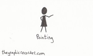 The graphic recorder visual vocabulary stick figure sketch of a person pointing