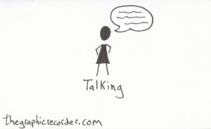 The graphic recorder visual vocabulary stick figure sketch of a person talking.
