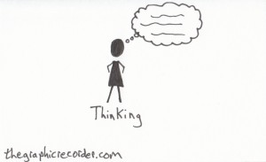 The graphic recorder visual vocabulary stick figure sketch of a person thinking