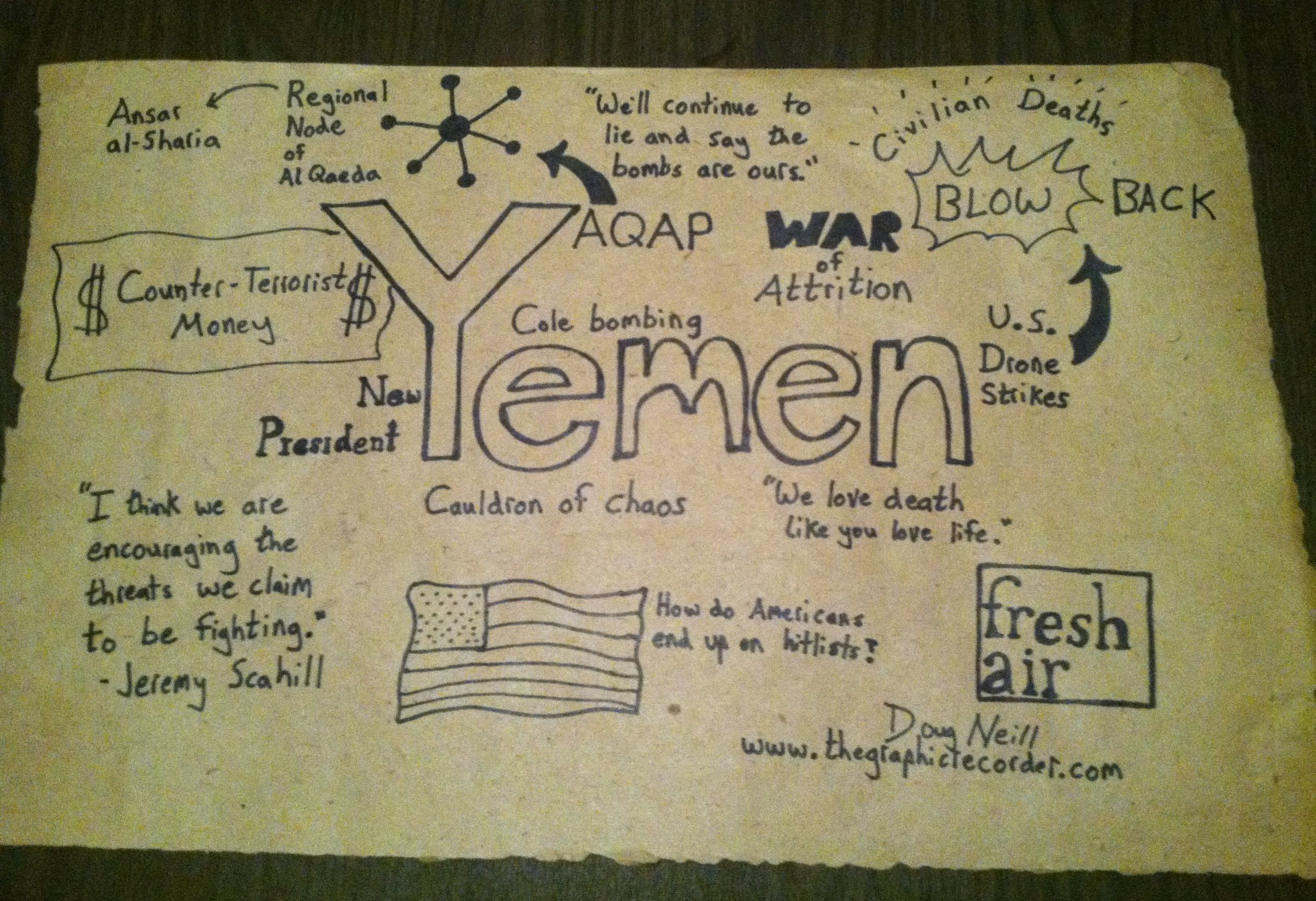 The Graphic Recorder - Doug Neill - NPR - Fresh Air - Yemen and the War on Terror - A Conversation Between Terry Gross and Jeremy Scahill
