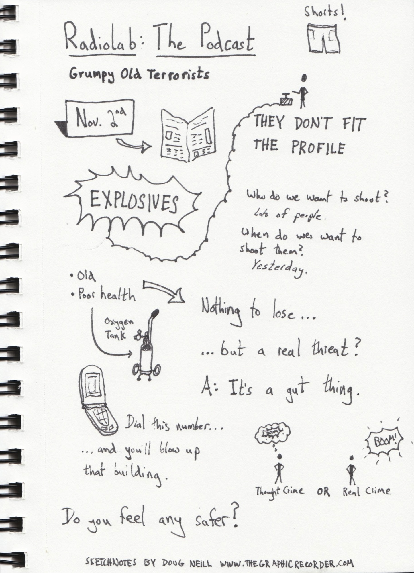 The Graphic Recorder - Doug Neill Sketchnotes - Grumpy Old Terrorists - Radiolab