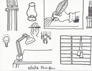 The Graphic Recorder - Doug Neill - Sketching with Sharpies - column book glass hand feather pen writing desk land puppet window blinds
