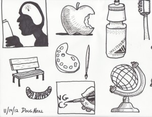 The Graphic Recorder - Doug Neill - Sketching with Sharpies - person head brain light bulb apple water botth paint brush palette bench anna bananas making comics globe