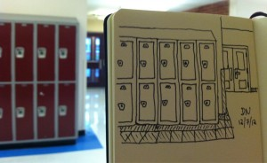 The Graphic Recorder - Doug Neill Sketch - Sketching while Subbing - Lockers