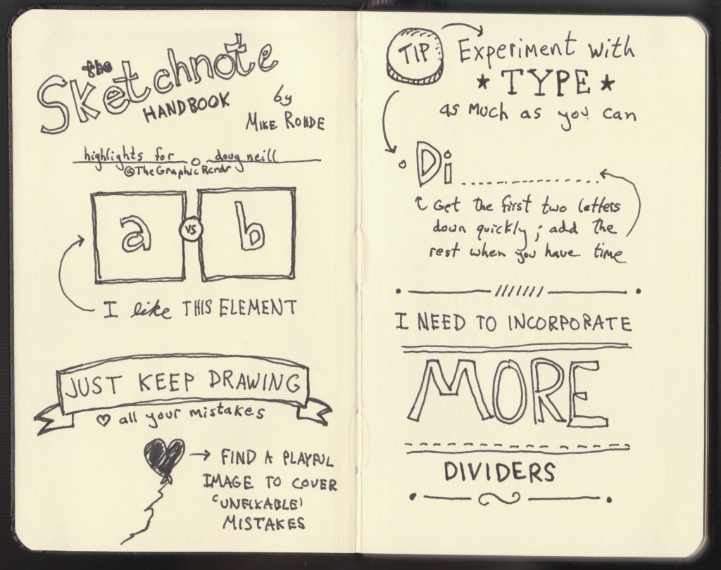 The Graphic Recorder - Doug Neill Sketchnotes - The Sketchnote Handbook Review - Mike Rohde - dividers, mistakes, type, tips