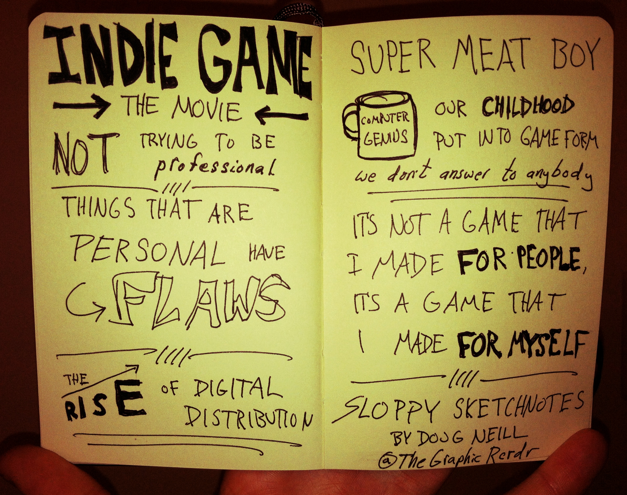 Indie Game The Movie - super meat boy, digital distribution -  Doug Neill Sketchnotes - The Graphic Recorder