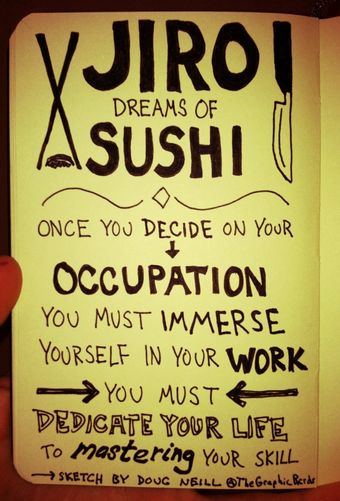 Jiro Dreams of Sushi - mastery - Doug Neill Sketchnote - The Graphic Recorder