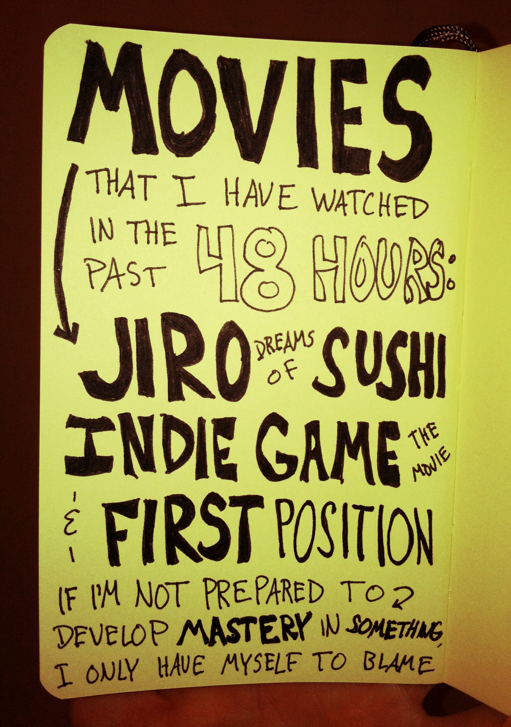 Jiro Dreams of Sushi - Indie Game The Movie - First Position - Mastery - Doug Neill Sketchnote - The Graphic Recorder