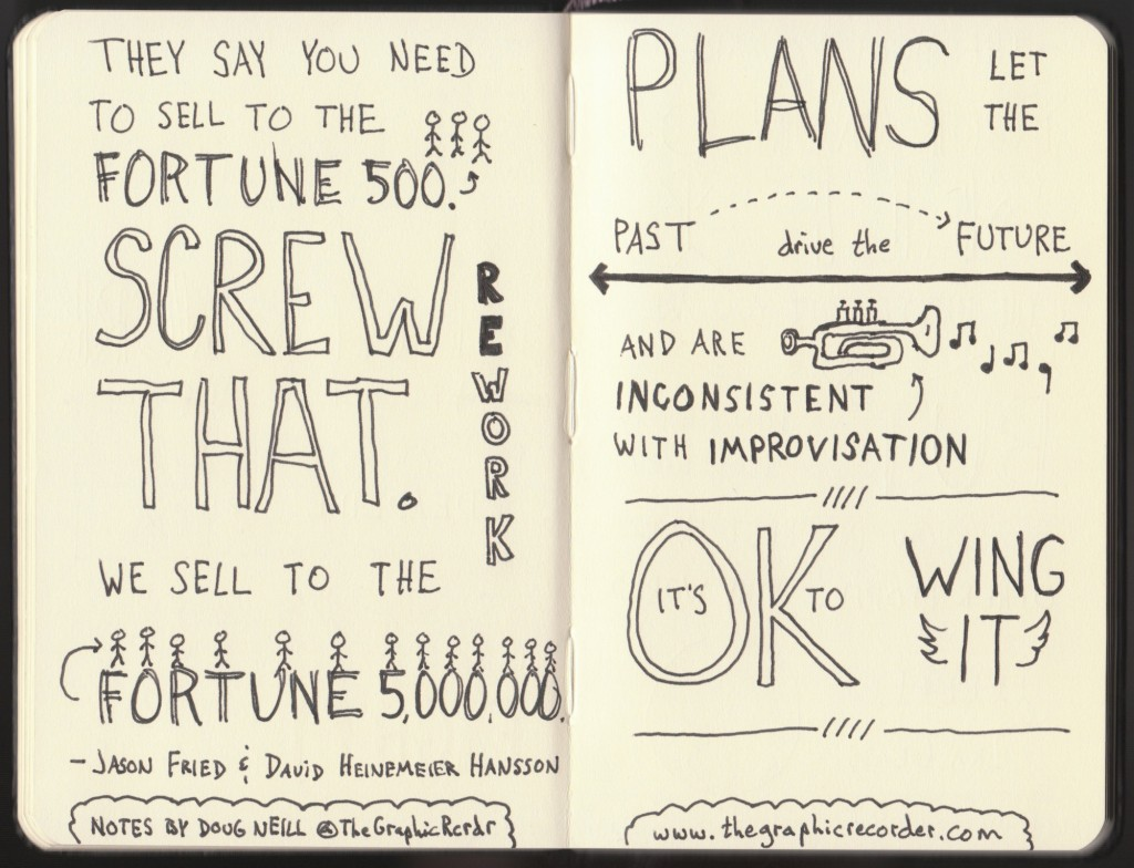 Rework Sketchnotes - Jason Fried, David Heinemeier Hansson - Doug Neill - sell to the fortune 5000000, plans let the past drive the future, improvisation, it's okay to wing it