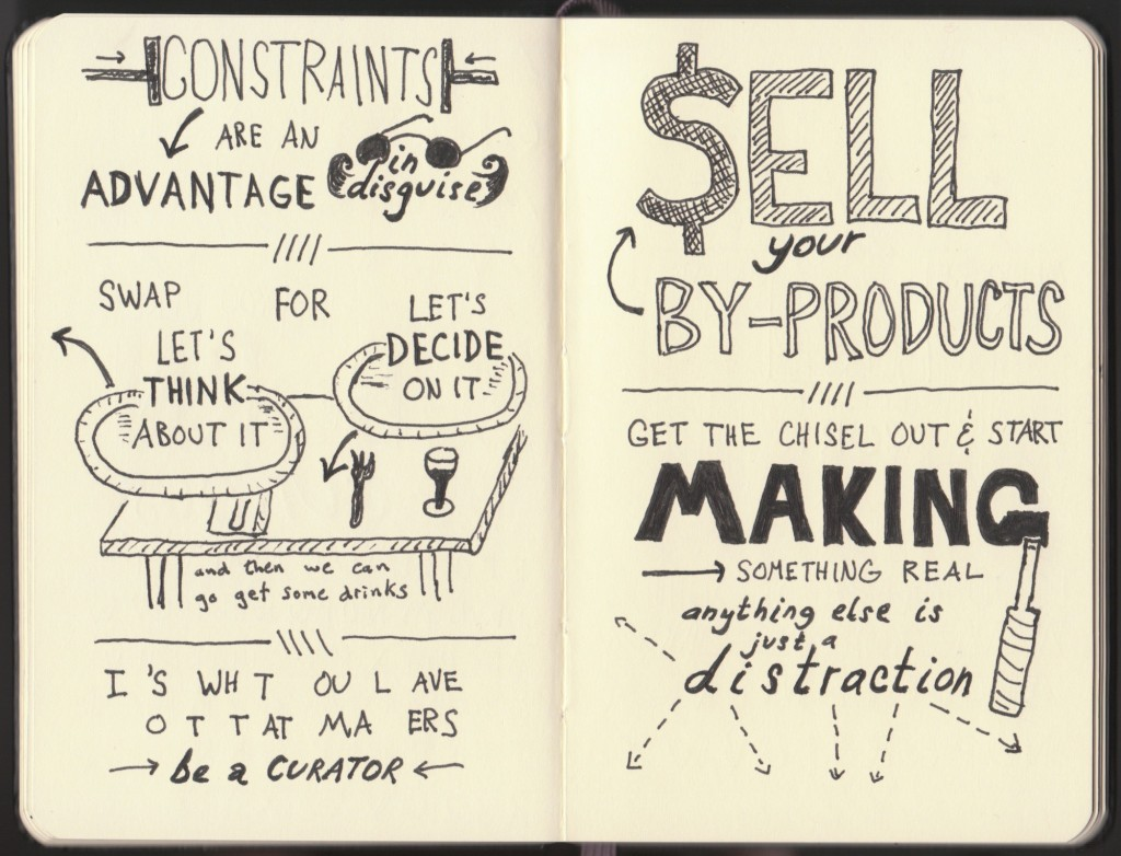 Rework Sketchnotes - Jason Fried, David Heinemeier Hansson - Doug Neill - constraints are an advantage in disguise, decide on it, it's what you leave out that matters, curator, sell your by-products, chisel out and start making