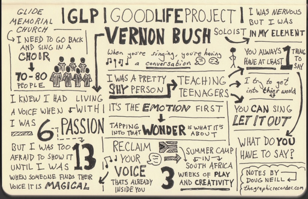 Sketchnotes of Good Life Project Interview - Vernon Bush - Jonathan Fields - Doug Neill - music, soloist, glide memorial church, reclaim your voice, teaching teenagers