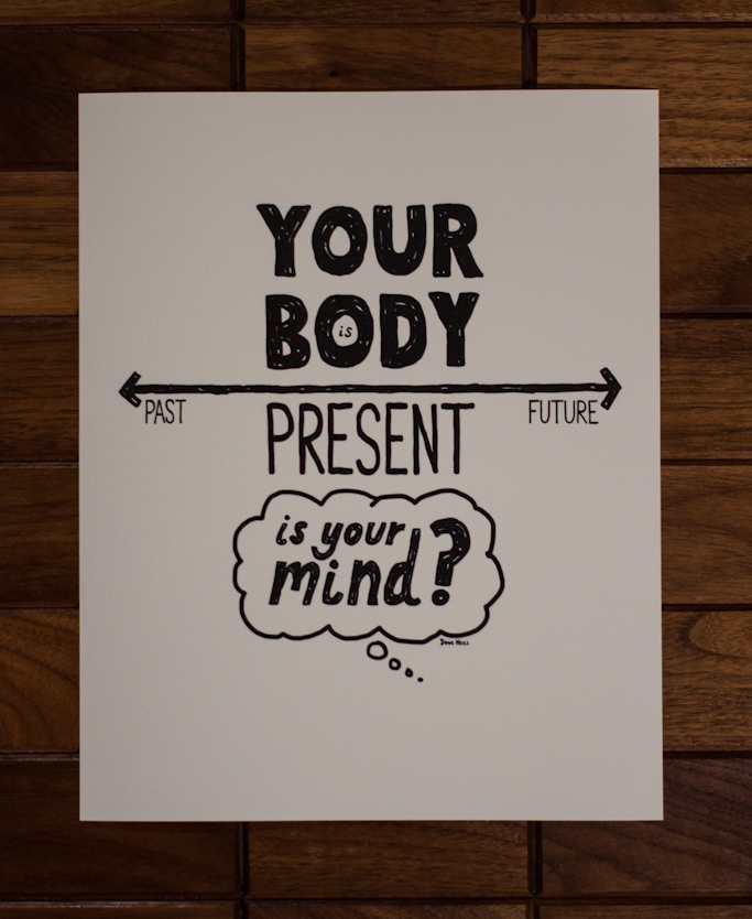 Your Body Is Present, Is Your Mind? - Doug Neill Illustration - mindfulness, present, past, future, self awareness