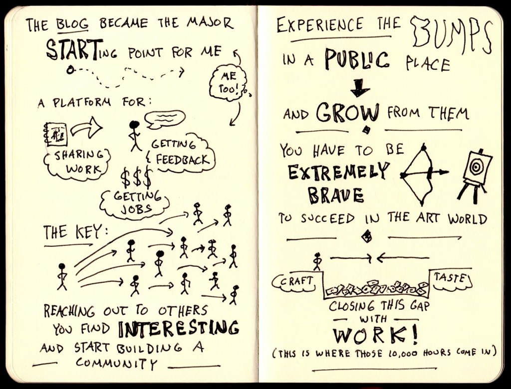 Good Life Project Samantha Hahn Sketchnotes (2) - Jonathan Fields - Doug Neill - blog as a starting point, sharing work, getting feedback, getting jobs, reaching out to others, building a community, experience the bumps in a public space, closing the gap between craft and taste with work