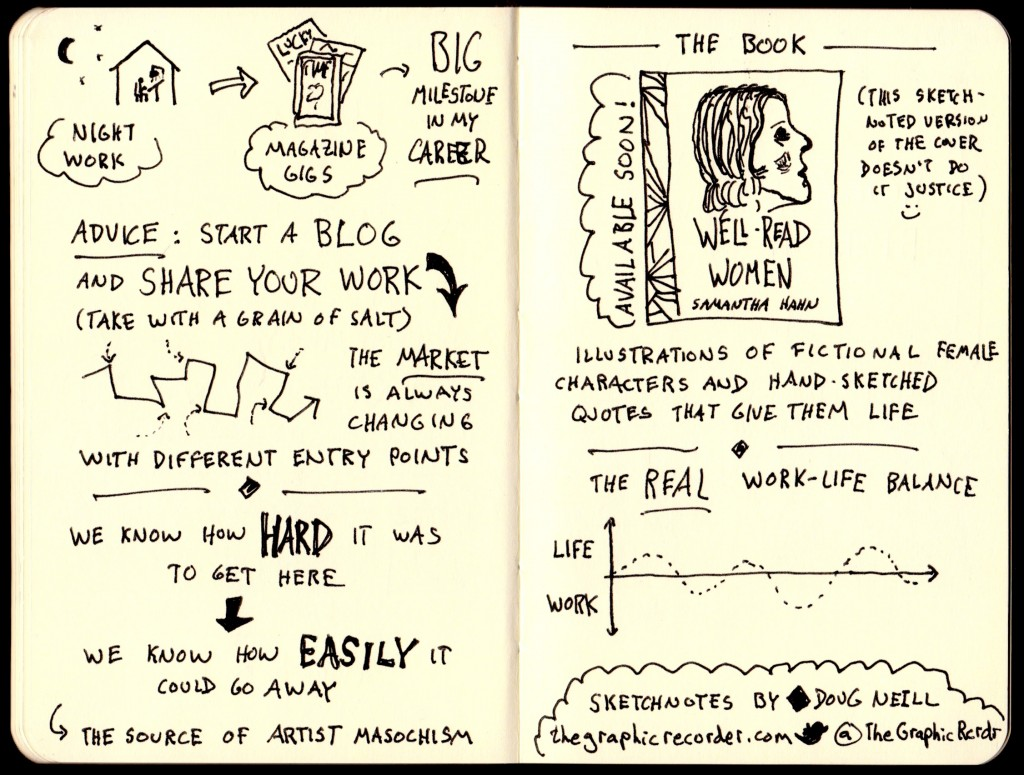 Good Life Project Samantha Hahn Sketchnotes (3) - Jonathan Fields - Doug Neill - night work, magazine gigs, milestone, blog, share your work, market with different entry points, artist masochism, well-read women, the real work life balance