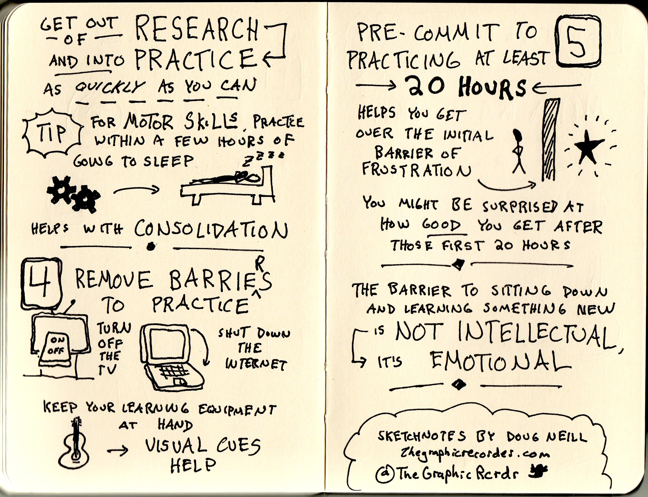 sketchnotes of josh kaufman interview on how to get good at