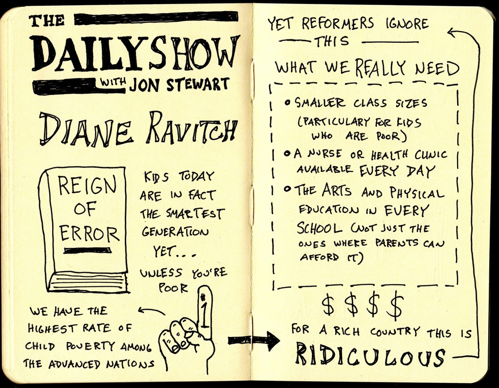 The Daily Show with Jon Stewart - Diane Ravitch interview sketchnotes - education - reign of terror - poverty - doug neill