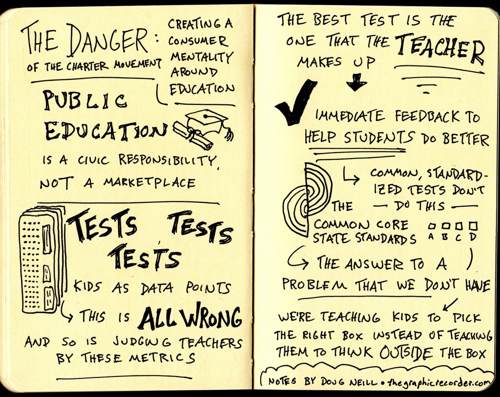 The Daily Show with Jon Stewart - Diane Ravitch interview sketchnotes - tests, public education, charter school movement, common core standards, standardized tests - Doug Neill