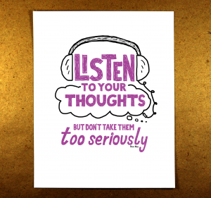 listen to your thoughts, purple, illustration, sketchnote, mindfulness, doug neill
