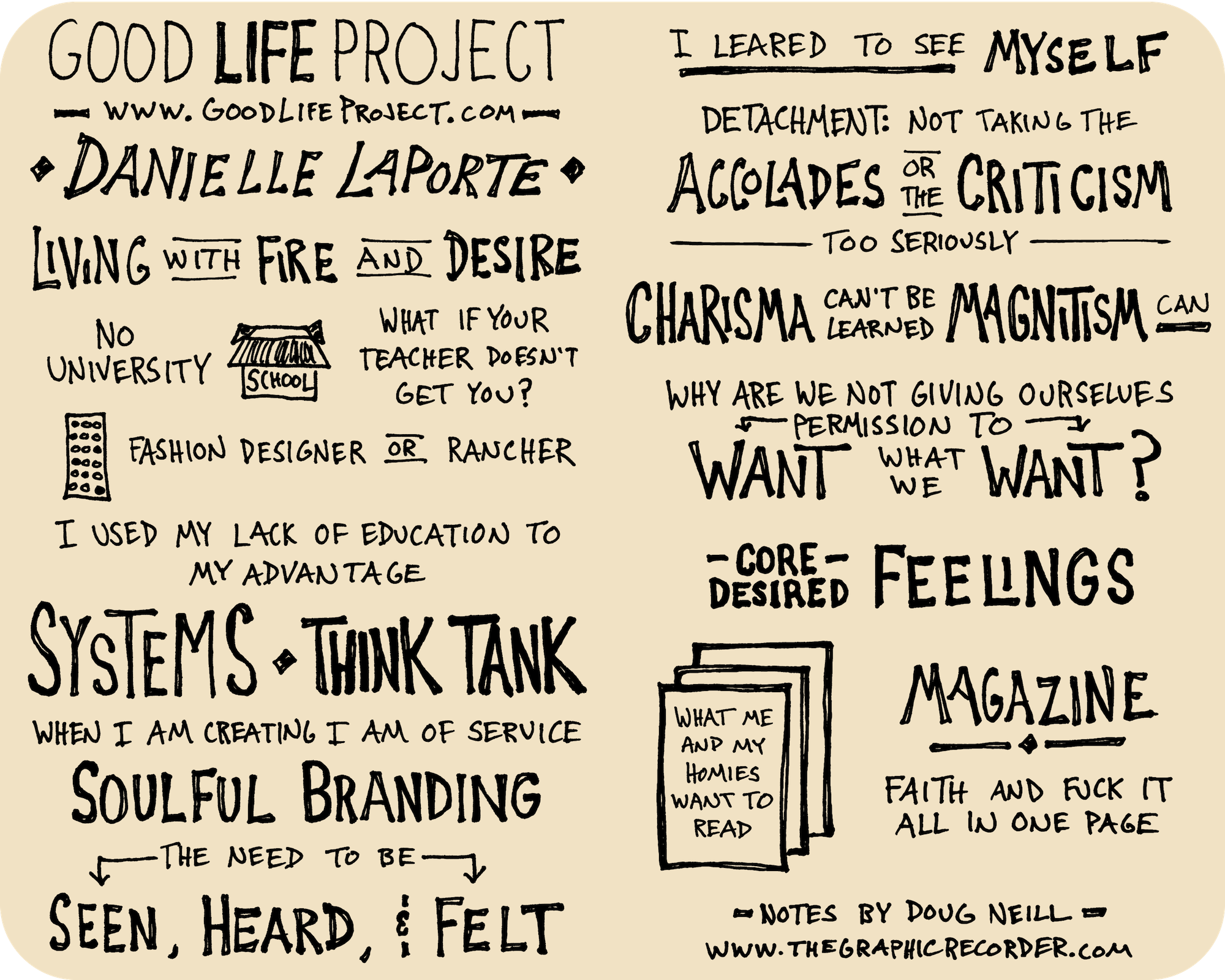 Danielle LaPorte Good Life Project Interview Sketchnotes - Jonathan Fields, Doug Neill, living with fire and desire, think tank, core desired feelings