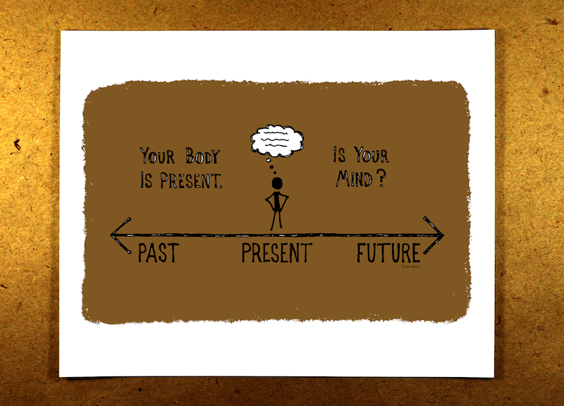 Your Body Is Present. Is Your Mind? (Brown) - mindfulness, sketchnote, past, present, future, thoughts, doug neill