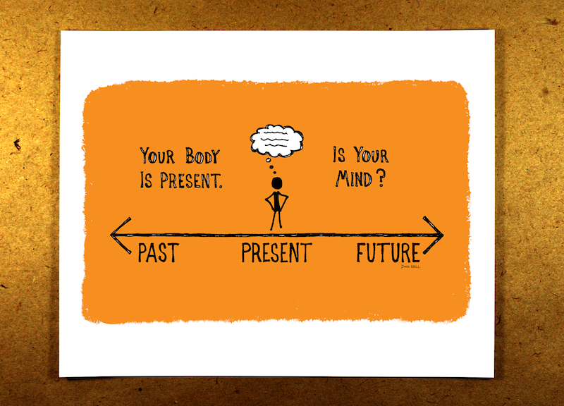 Your Body Is Present. Is Your Mind? (Orange) - mindfulness, sketchnote, past, present, future, thoughts, doug neill