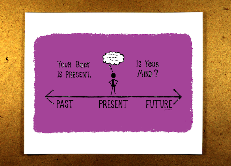 Your Body Is Present. Is Your Mind? (Purple) - mindfulness, sketchnote, past, present, future, thoughts, doug neill