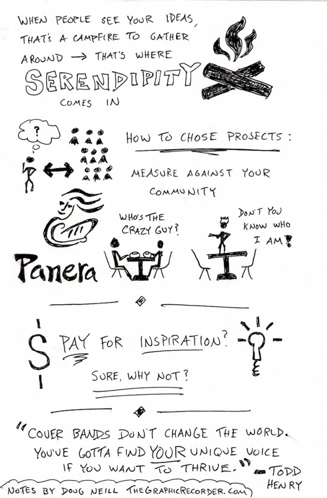 Accidental Creative Chris Brogan Sketchnotes (2) Web - Doug Neill - The Graphic Recorder - serendipity, how to chose projects, pay for inspiration, todd henry