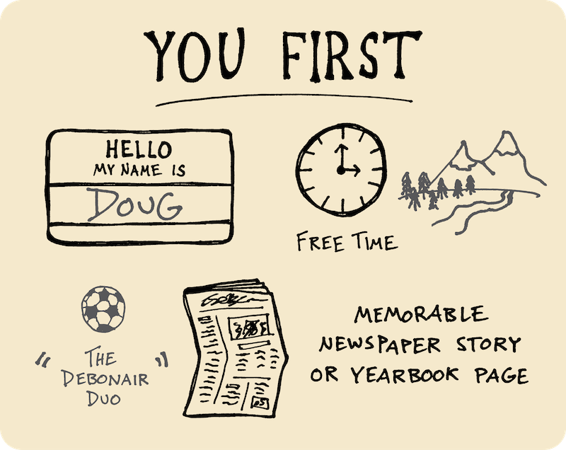 Ten Years of Wandering - My Path Since High School (Doug Neill) 1 - name tag introduction, free time, memorable newspaper story or yearbook page