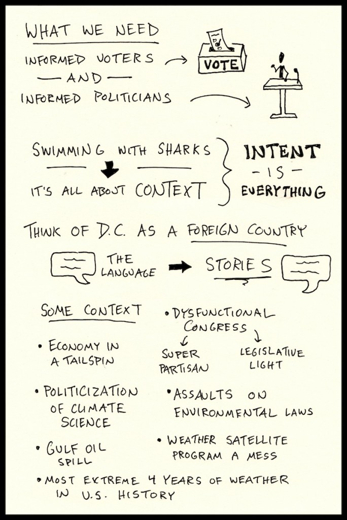 PIELC Sketchnotes Jane Lubchenco Web (2) - Doug Neill, informed voters politicians, context, stories, congress, partisan, climate science, extreme weather