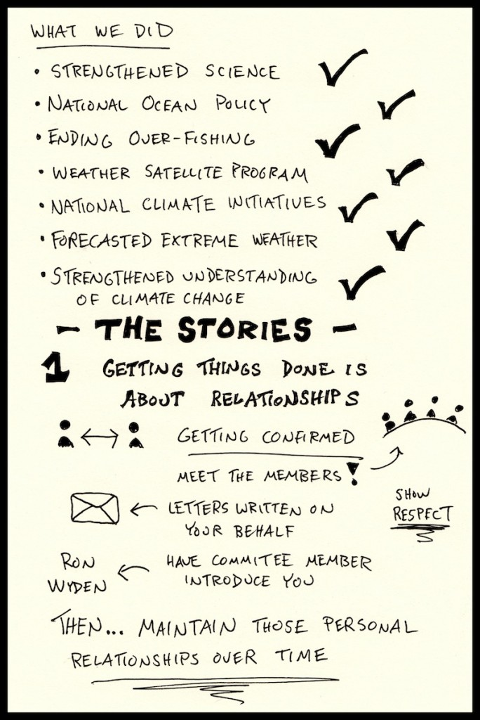 PIELC Sketchnotes Jane Lubchenco Web (3) - Doug Neill, stories, getting things done, relationships, respect