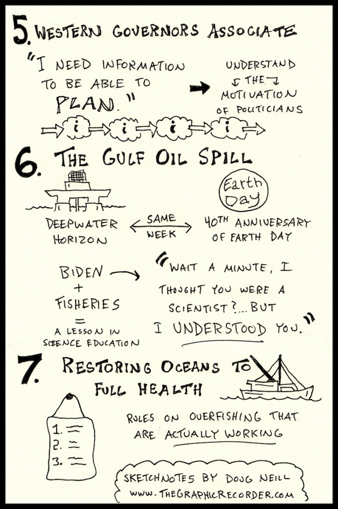 PIELC Sketchnotes Jane Lubchenco Web (5) - western governors association, plan, motivation of politicians, deepwater horizon, earth day, gulf oil spill, biden, fisheries, restoring oceans to full health