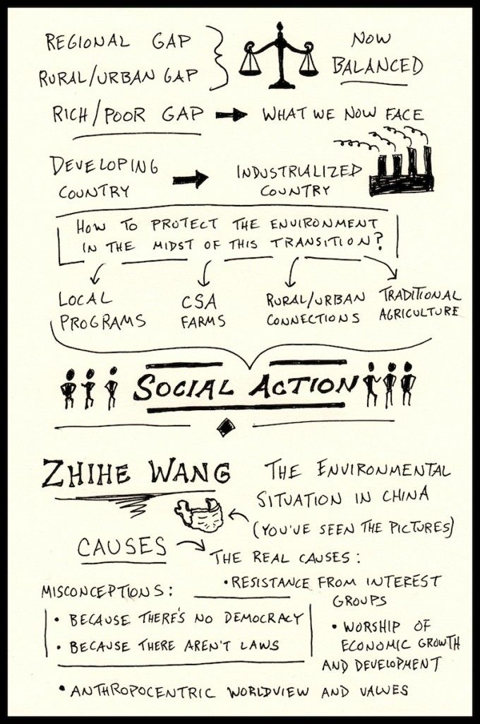 PIELC Sketchnotes - Wen Tiejun and Zhihe Wang Web (2) - Doug Neill, China environmentalism, social action, developing to industrialized country, regional gap, rural urban gap rich poor gap