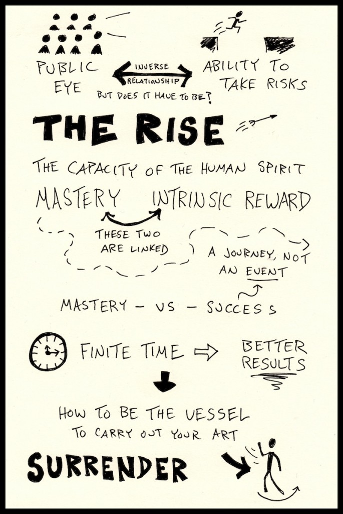 Sarah Lewis Good Life Project Sketchnotes Web (2) - Jonathan Fields, Doug Neill, public eye, ability to take risks, the rise, mastery, intrinsic reward, master vs success, finite time better results, surrender
