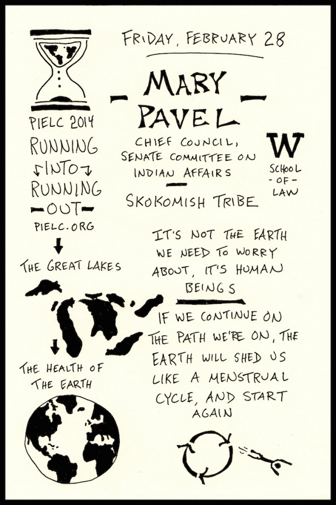 PIELC Sketchnote Mary Pavel (1) - Doug Neill - The Graphic Recorder - UW school of law, running into running out, the great lakes
