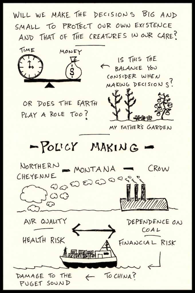 PIELC Sketchnote Mary Pavel (2) - Doug Neill - The Graphic Recorder - time and money, garden, policy making, northern cheyenne, montana, crow, air quality, coal, health risk, financial risk, china, puget sound