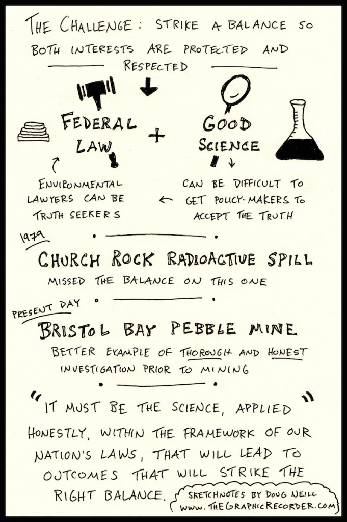 PIELC Sketchnote Mary Pavel (3) - Doug Neill - The Graphic Recorder - federal law, good science, church rock radioactive site, bristol bay pebble mine