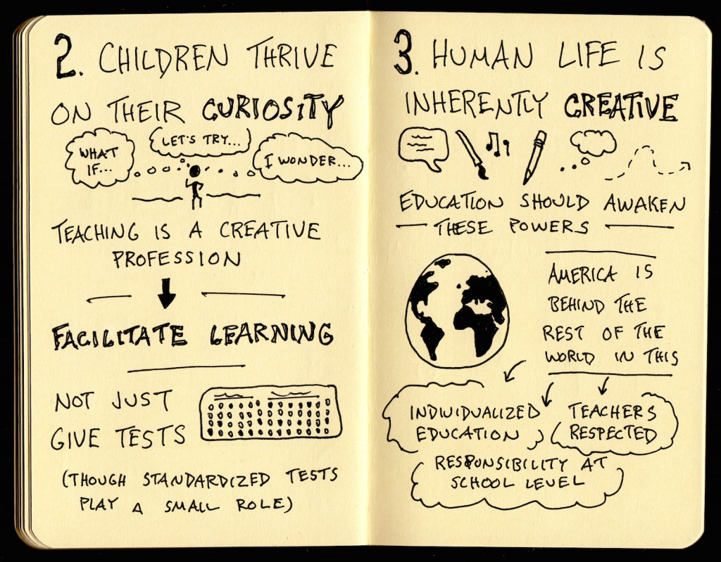 Ken Robinson - How To Escape Educations Death Valley Sketchnotes Web (2) - children, curiosity, teaching, creative profession, learning, standardized tests, education, powers, respect, responsibility - doug neill, the graphic recorder