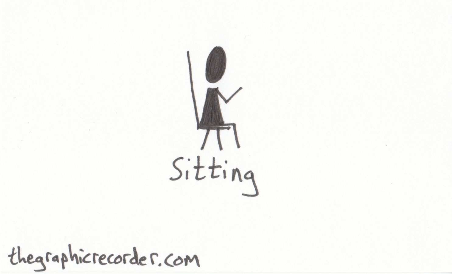 The graphic recorder visual vocabulary stick figure sketch of a person sitting in a chair