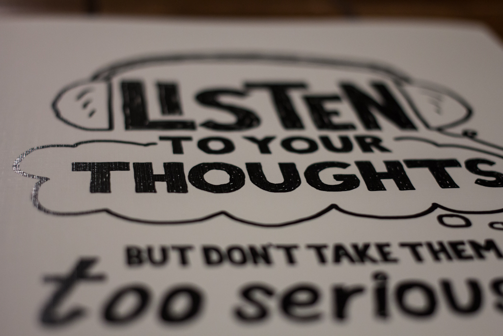 Listen To Your Thoughts But Don't Take Them Too Seriously (Detail 2) - Doug Neill Illustration - Print - mindfulness, self awareness