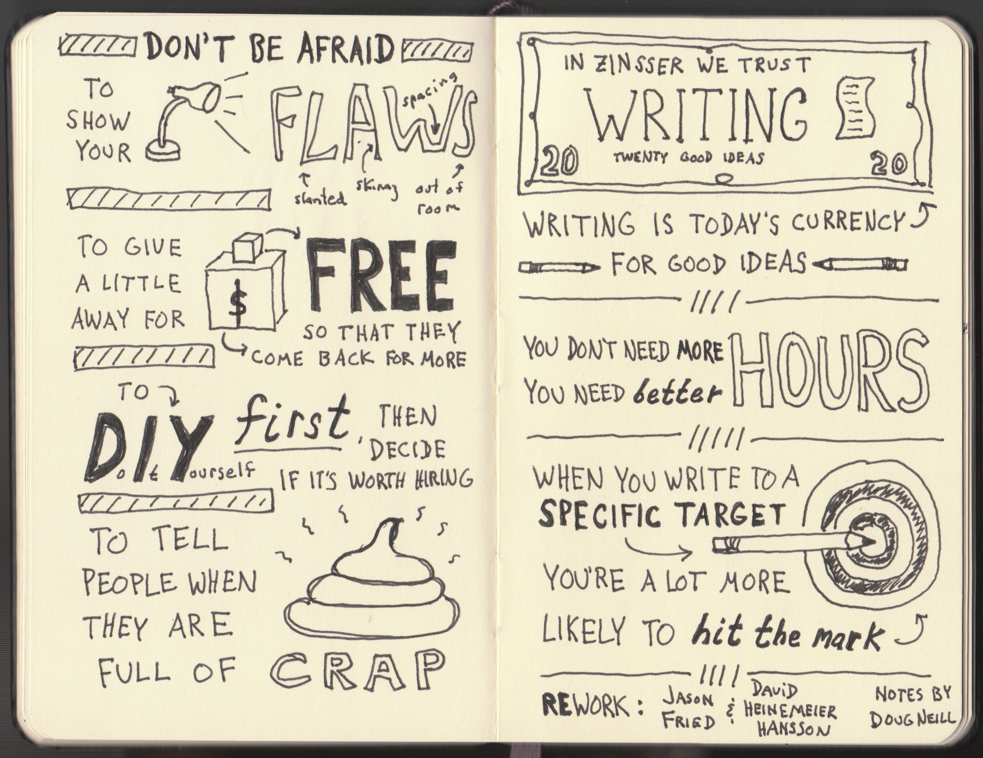 Rework Sketchnotes - Jason Fried, David Heinemeier Hansson - Doug Neill - show your flaws, give a little away for free, do it yourself first, writing is today's currency for good ideas, better hours, write to a specific target
