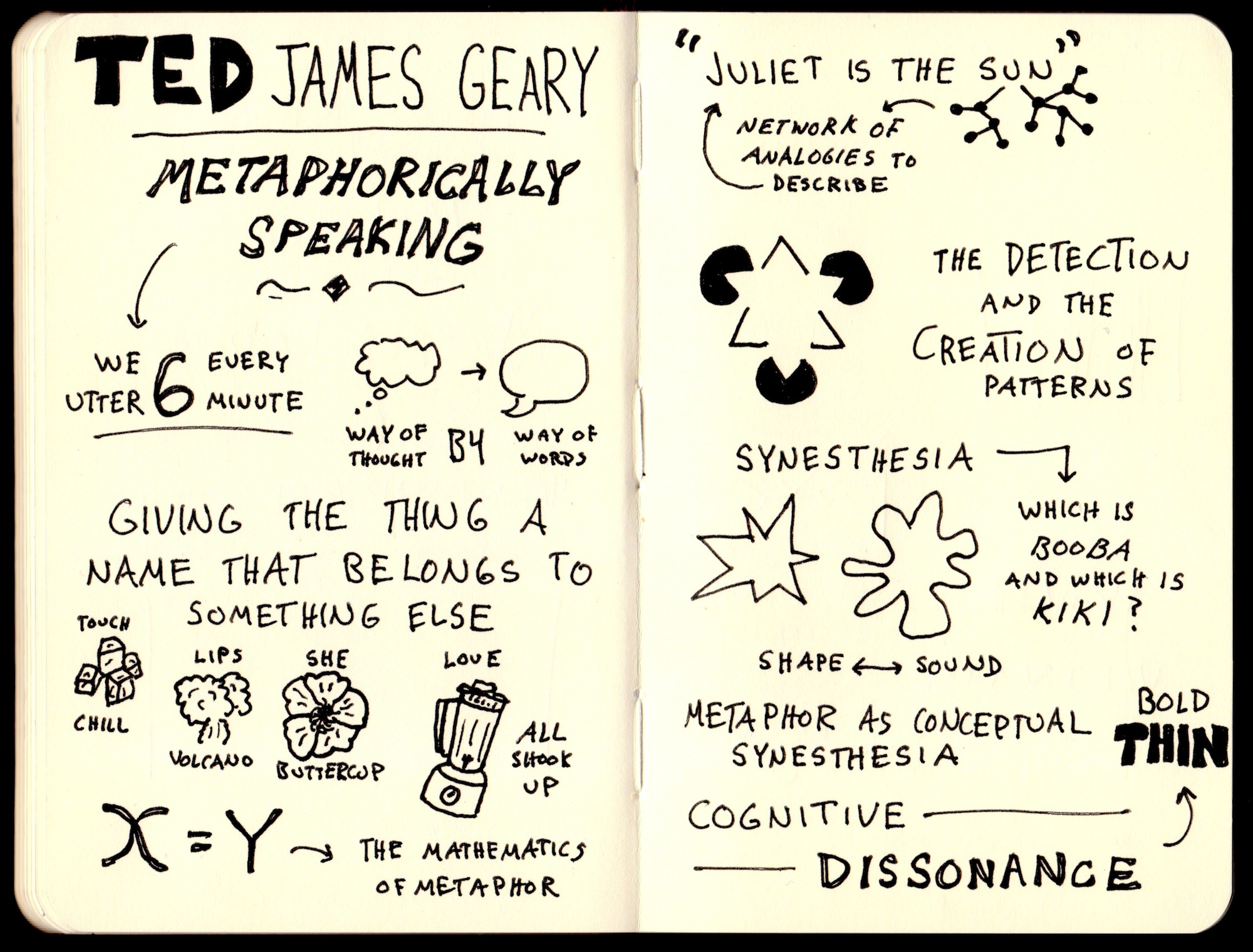 TED James Geary Metaphorically Speaking Sketchnotes (1) - Doug Neill - touch chill, lips volcano, she buttercup, love all shook up, juliet is the sun, analogy, detection and creation of patterns, synesthesia, cognitive dissonance
